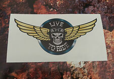 LIVE TO RIDE Winged Motorcycle Helmet STICKER 150mm  Biker skull