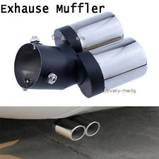 Dual Oval Rolled Stainless Steel Exhaust Tail Muffler Tip Pipe 63MM Universal