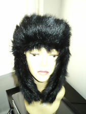 unisex Black FAUX FUR RUSSIAN STYLE TRAPPER COSSACK ESKIMO HAT one SIZE