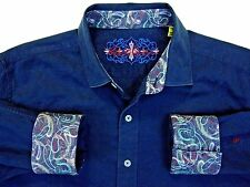 Robert Graham Men's Size Large L Casual shirt Flip Cuffs designer embroidered