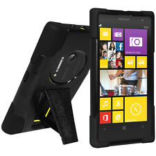 Amzer Soft Gel + Hard Shell Hybrid Kickstand Case For Nokia Lumia 1020 - Black