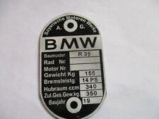 Nameplate BMW R 35 R35 Vintage motorcycle Shield 350 kg Aluminum etched