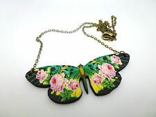 VINTAGE WOODEN PINK ROSE FLOWER BUTTERFLY ANTIQUE GOLD NECKLACE PENDANT
