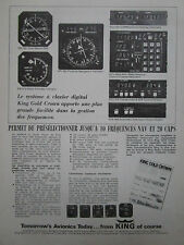 7/1977 PUB KING GOLD CROWN AVIONICS AVIONIQUE RADAR ALTIMETER ORIGINAL FRENCH AD
