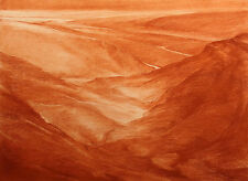 "James Conaway ""Sepia Canyon"" Signed Original Conte Crayon Drawing Fine Art, OBO!"