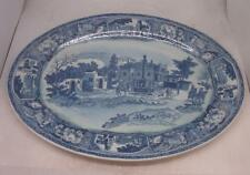 Very Large Blue & White Meat Plate / Platter - Town / Village Scene - IRONSTONE