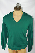AUTH Burberry Brit Men Green 100% Wool V Neck Sweater S