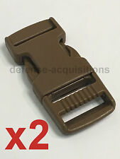 SET OF 2 Side Release Side Squeeze Single Adjust Buckle 3/4 INCH  COYOTE