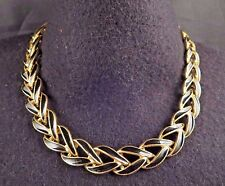 Vintage Napier Signed Black Enamel V Link Chain Necklace Bright Gold Tn 16 1/4""