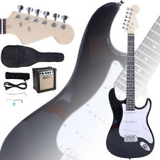 New Electric Guitar + 10W Amp + Gig Bag Case + Guitar Strap Beginners Black