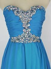 Masquerade Blue Evening Prom Junior Strapless Dress size 3 Long Homecoming $200