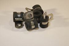 "5 x 8mm Stainless Steel Rubber Lined P Clips for 1/4"" clutch / brake pipe etc.."