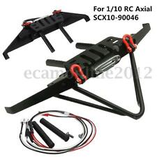 Metal Front Bumper Winch For 1/10 RC Axial SCX10-90046 Crawler With LED Cable