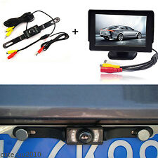 "Car Rear View License Plate Frame Camera & 4.3"" TFT LCD Screen Display Monitor"