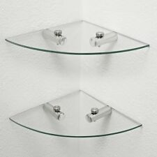 2 GLASS CLEAR CORNER BOOK BATHROOM WALL FLOATING STORAGE ACCESSORY SHELF SHELVES