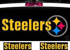 """SET OF 3 Pittsburgh Steelers Decals Stickers Car window,One 23""""x7""""& Two 10""""x2.5"""""""