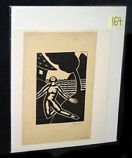 "1950s Hawaii Linocut ""Poe's Annabelle Lee"" by Isami Doi (1903-1965) (New)"