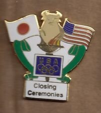 1998 Merrill Lynch Nagano Olympic Pin Closing Ceremonies Flag Japan USA Rings