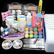 New 36W UV Dryer Lamp Glitter Powder French Nail Art Tips Gel Tools DIY Kit Set