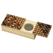 Japanese Samurai Wooden Yosegi Magic Coin Puzzle Trick Box HK-034, Made in Japan