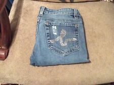 Gently Worn Authentic BEBE Blue Wash Denim Jeans With Crystal Pocket - Size 26