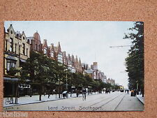 R&L Postcard: Lord Street, Southport, Shops, Bicycle, Tram, Hand Cart etc