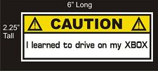 Caution Xbox one Joke Gamer car decal great stocking stuffer bumper sticker