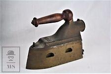 Antique Clothing UCM Coal Sad Iron with Wood Handle