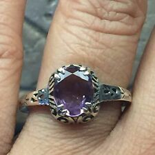 AAA Natural 2ct Amethyst 925 Solid Sterling Silver Antique Filigree Ring 8.25