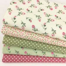 Bundle 5 fat quarters grace green & pink with polka dots green & rose