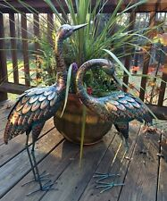 Copper Patina Crane Pair Metal Garden Decor Statues Bird Yard Sculptures Heron