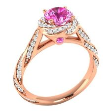 Certified 1.20 ct Natural Diamond & Pink Sapphire 14K Rose Gold Engagement Ring
