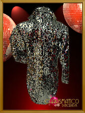 CHARISMATICO Black and white satin tuxedo style silver sequin tail jacket