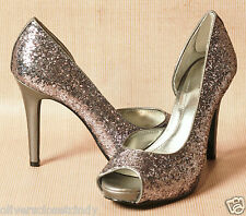 STYLE & CO. Leclerc Pewter Glitter Open Toe Platform High Heel Shoe Sz. 7.5 NEW