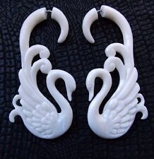 Pair of Swan Split Gauge Bird Earrings Tribal Tapers Carved Cow Bone Fake Plugs