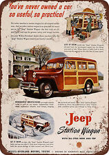 "1947 Willys Jeep Woody Station Wagon 10"" x 7"" Reproduction Metal Sign"