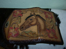 Handmade vintage leather tooled horse and floral wallet or clutch