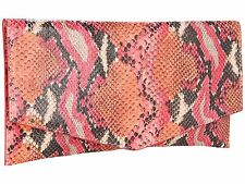 NWT COLE HAAN CROSBY PINK SNAKESKIN LEATHER ENVELOPE CLUTCH BAG PURSE $148