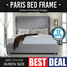 New Queen Grey Bed Frame French Provincial Tufted Upholstered Wing Fabric Paris