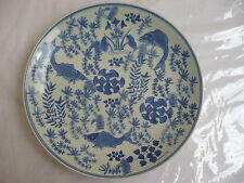 BEAUTIFUL OLD CHINESE JAPANESE PANTED BLUE CELADON PLATE CHARGER W/ FISH DESIGN