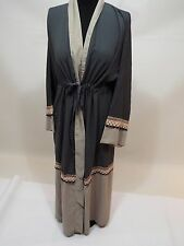 Women long gray beige dress kuftan caftan abaya white lace gown sz 54 free ship