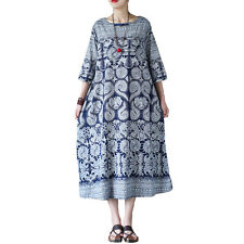 Women's Blue Vintage Printing A-Line Dress Cotton Linen Dress Travel Clothing