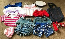 Build A Bear 15 pc Clothing Lot w/ Red Roller Skates Bag Tote Hat Skirts Tops