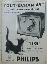 PUBLICITE PHILIPS TELEVISION TOUT ECRAN 43CM CHAT POISSON DE 1960 FRENCH AD PUB