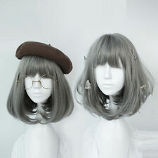 Women's Wig Short Gray Lolita Synthetic Hair Party Cosplay Fashion Anime Wigs