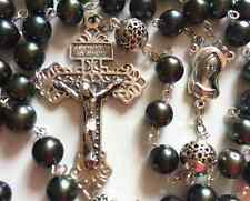 AAA Black Tahitian Pearl & Bali Sterling Silver Bead Rosary Cross Necklace box