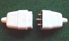 230 VOLT 10 AMP 3 PIN IN LINE COUPLER CONNECTOR PLUG/SOCKET MALE / FEMALE WHITE