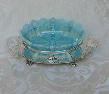 Victorian Butter Jam Dish  Silver Plate and Vaseline Blue Pressed Glass c1880