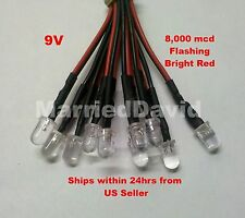 5pcs 5mm Pre Wired LEDS 9 VOLT Flashing / Blinking RED PreWired 9V HEAVY DUTY