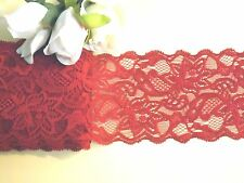 Deep Red Stretch Lace Trim 8.5 cm wide #6RD618B 1 metre